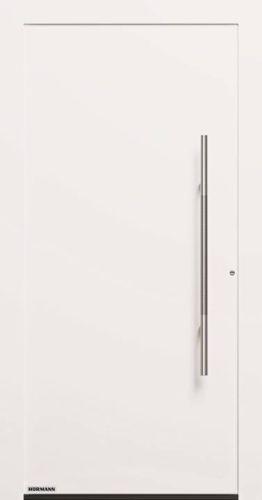 Porta d'ingresso hormann ThermoCarbon (Motivo 860), in bianco e con sottile maniglia in acciaio inox