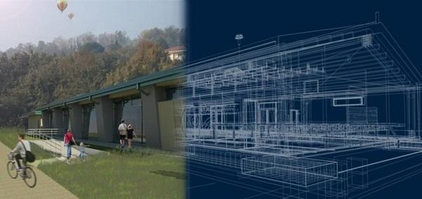Rendering dell'edificio e struttura realizzata con BIM