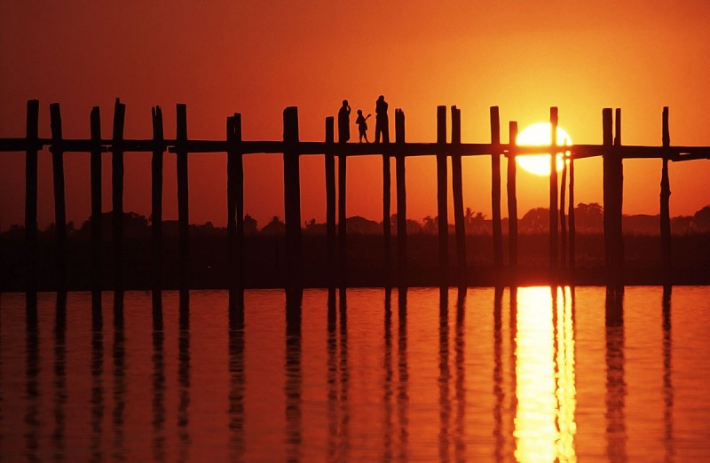 U Bein Bridge ponte in Birmania realizzato in Teak