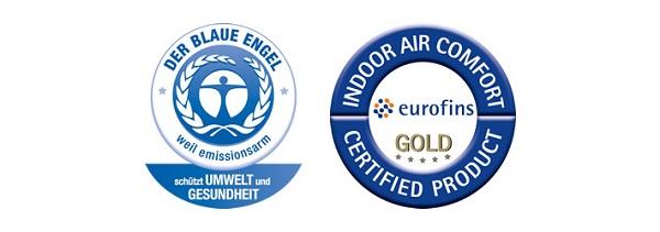 le certificazioni ottenute dal prodotto DER BLAUE ENGEL e INDOOR AIR COMFORT EUROFINS GOLD