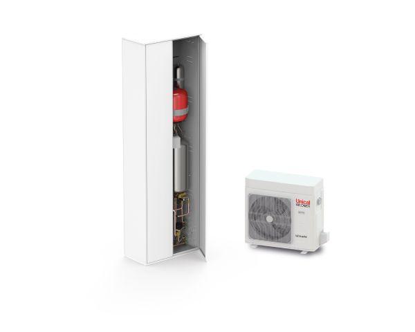 Sistema ibrido SLIM HP di Unical: pompa di calore più box