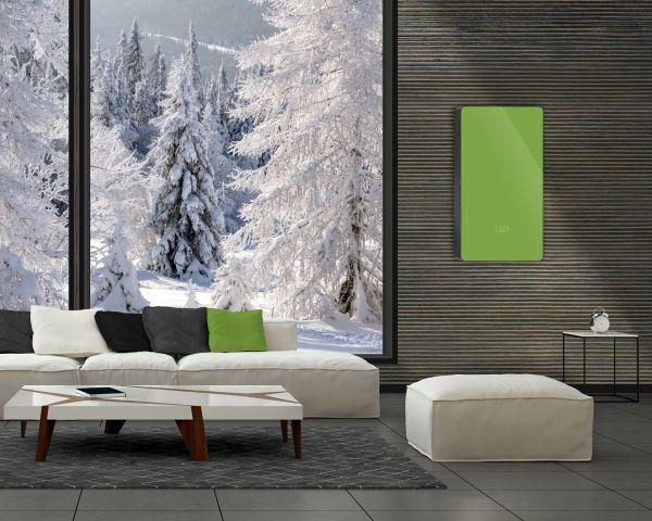 La caldaia a condensazione di design Osa di Unical nella variante verde