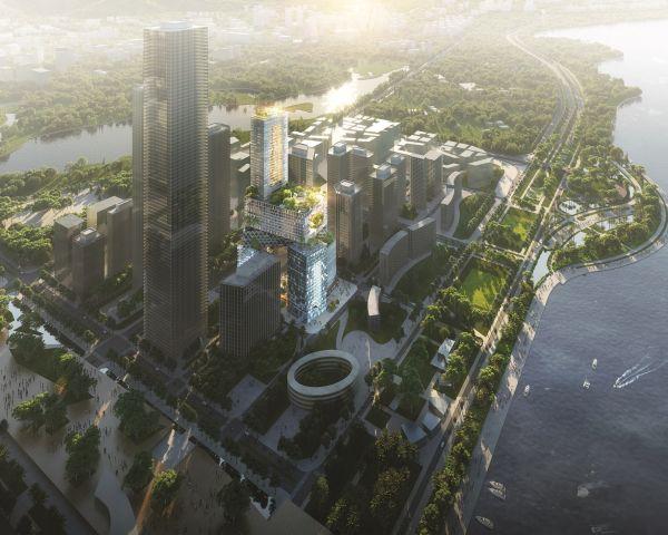 Gli 8 blocchi che compongono la sede centrale della società immobiliare Vanke Group a Shenzhen