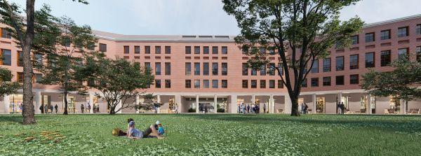 Vista dei portici e delle corti interne del del nuovo edificio Vetra Building