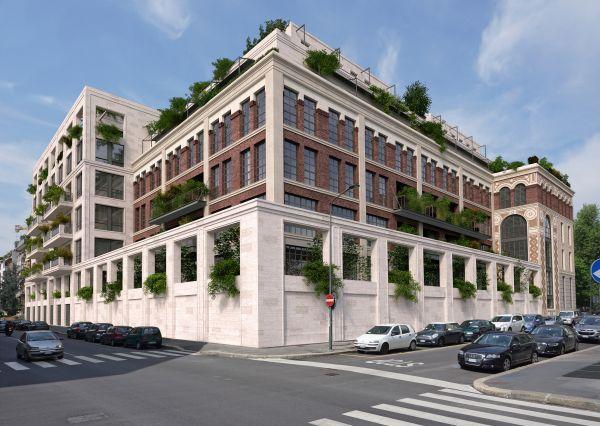 Render facciata esterna Washington Building a Milano