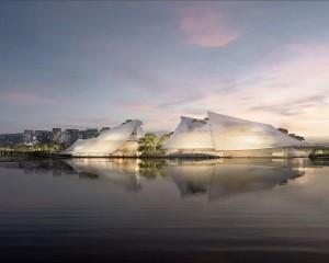 In Cina un complesso teatrale dall'aspetto di una barca galleggiante