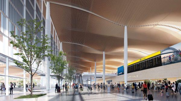 I soffitti ondulati in legno del nuovo aeroporto di Sydney