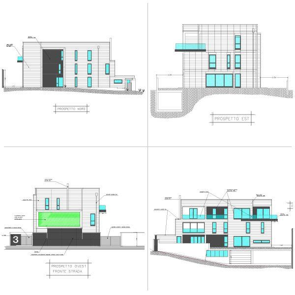 Piante e sezioni nuovo edificio a Seregno realizzato con doghe Alubel