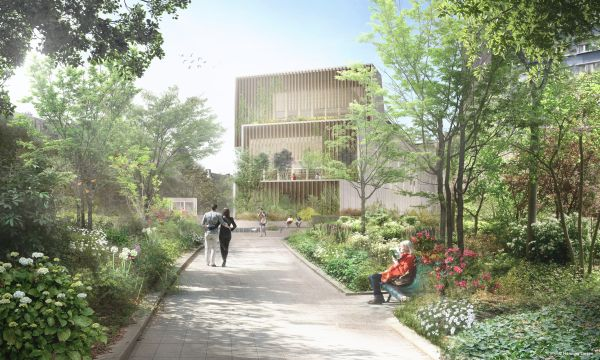 Ampliamento teatro bastiglia a Parigi: Render del progetto sui giardini Viaduc des Arts