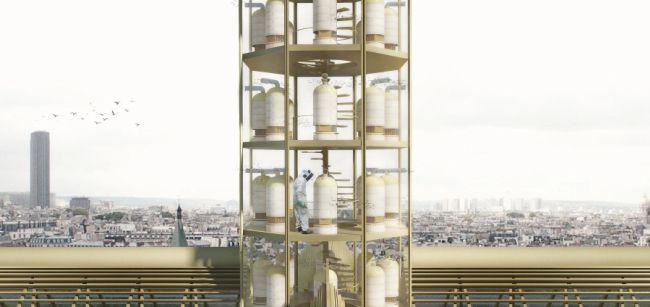 L'apiario previsto dal progetto dello studio di architettura parigino NAB nella riqualificazione di Notre Dame