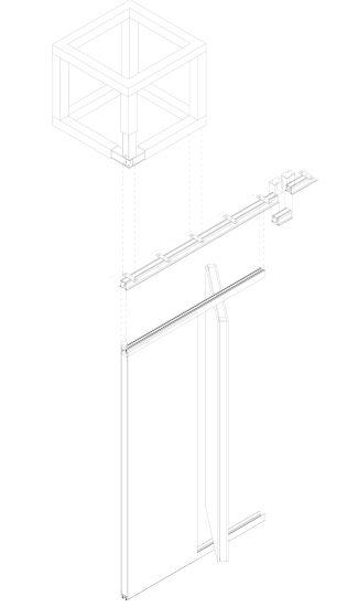 Assonometria costruttiva della parete acustica e sistema portante superiore, capannoni Botti, EX MANIFATTURA TABACCHI