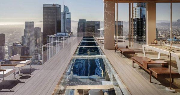 Rendering di un balcone con piscina del progetto di un Grattacielo a Los Angeles