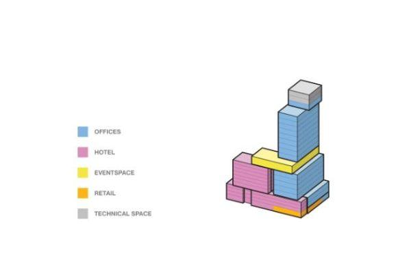 Le diverse funzioni d'uso dei box squadrati e colorati del Radio Tower & Hotel
