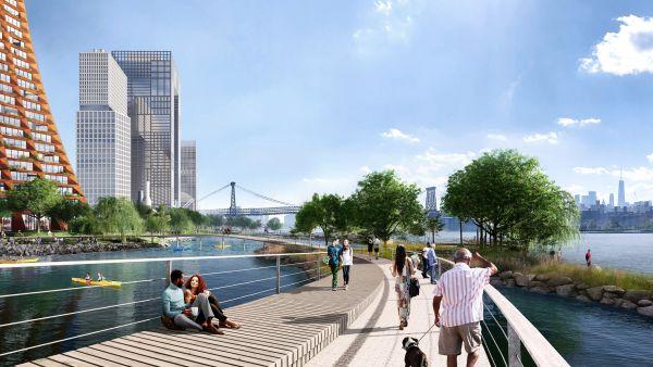 La passerella pedonale di forma circolare della nuova proposta per il lungomare di Brooklyn