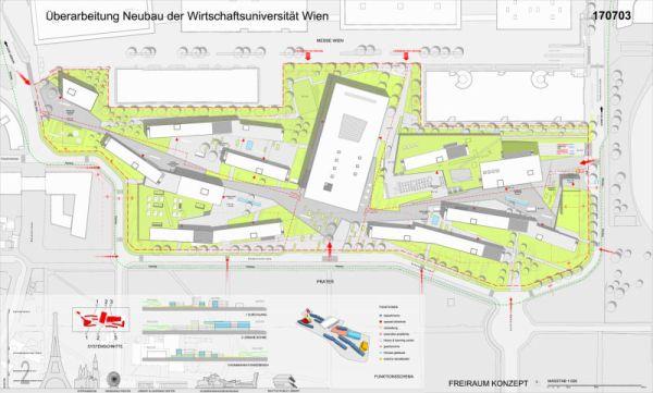 Il masterplan del progetto del WU Campus di Vienna.