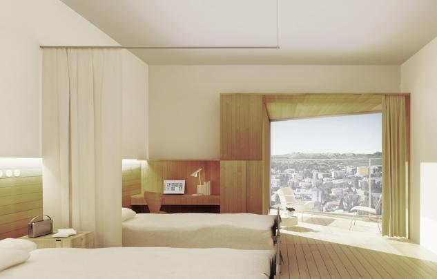 Le camere del nuovo ospedale di Pordenone con le finestre aperte verso la città