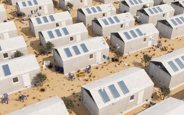 Progettato un centro accoglienza in cemento arrotolabile