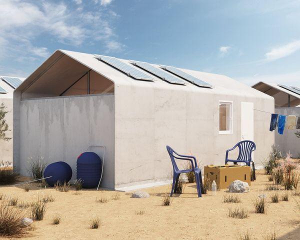 Progettato un centro accoglienza profughi in cemento arrotolabile