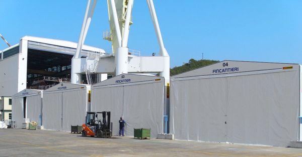 Capannoni Kopron in pvc per cantiere navale Fincantieri