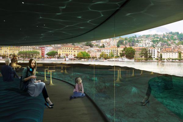 Render del lungolago di Lugano secondo la visione di Carlo Ratti Associati