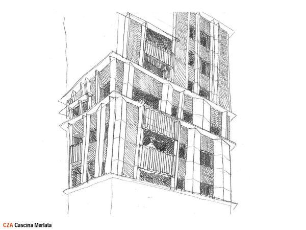 Cascina Merlata: Schizzo progettuale delle facciate delle due torri del lotto R9