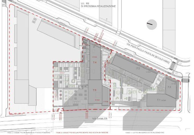 Cascina Merlata: Il lotto su cui sono stati costruiti gli edifici 7.4 e 7.5
