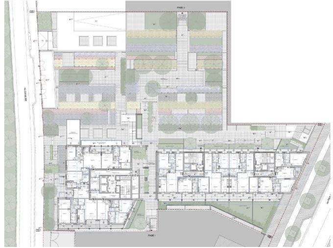 Cascina Merlata: Pianta del primo piano dell'edificio 7.4 con il verde al piano terreno