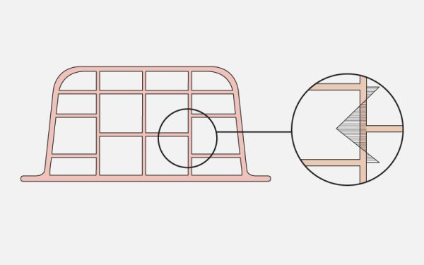 Pignatte  inadeguate per resistere alle sollecitazioni di trazione per flessione nei setti verticali