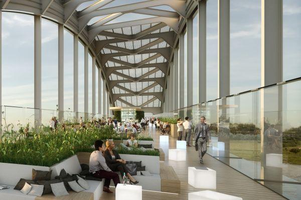 Rendering centro conferenze del progetto riqualificazione ponte fiume Lek