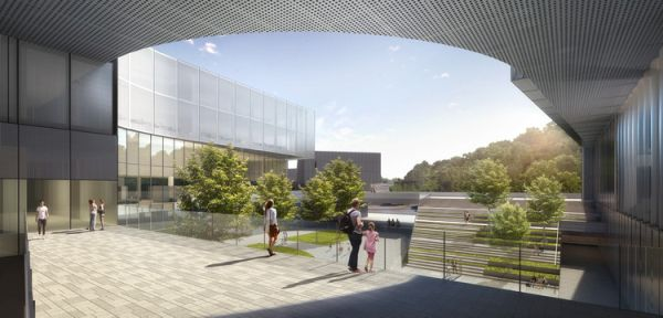 Il centro espositivo a forma di U del Centro artistico di Shenzhen con roofgarden