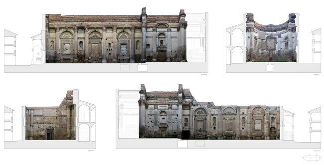 Rilievo fotografico dei fronti interni dell'ex chiesa di San Francesco a Fano