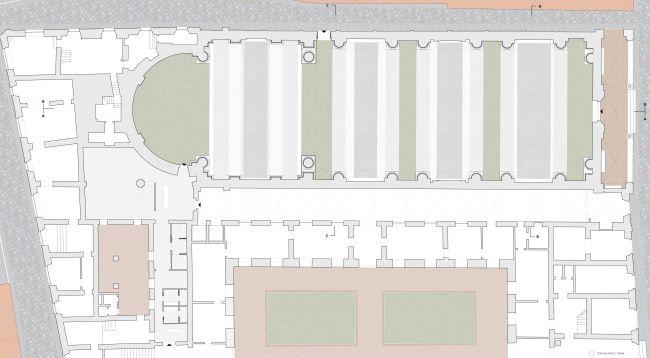 Progetto di recupero – pianta del piano terra del complesso di San Francesco