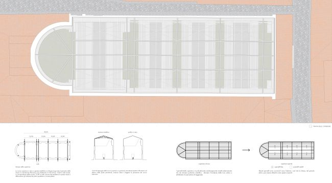 Progetto di recupero – pianta pianta della copertura e schemi di progetto del complesso di San Francesco