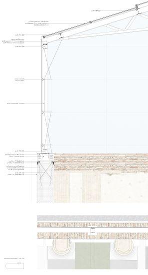 Progetto di recupero – dettaglio tecnologico della nuova copertura del complesso di San Francesco