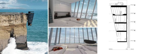 Edificio verticale a strapiombo sul mare Cliff House in Australia