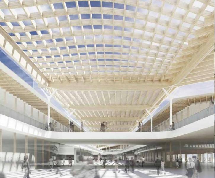 Render della copertura in legno lamellare del centro commerciale
