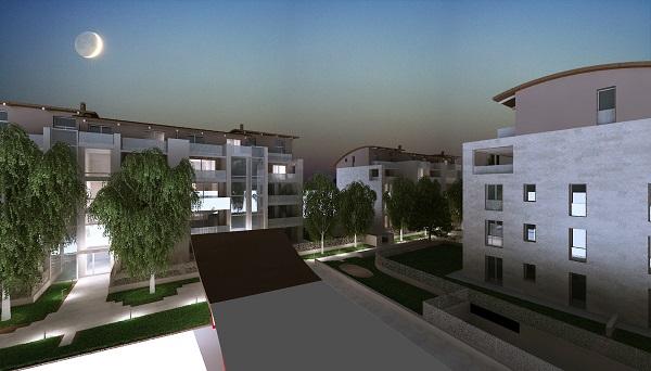 I tre blocchi residenziali del complesso in costruzione