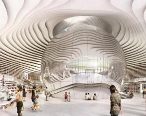 La biblioteca futuristica Tianjin Binhai Library progettata da MVRDV