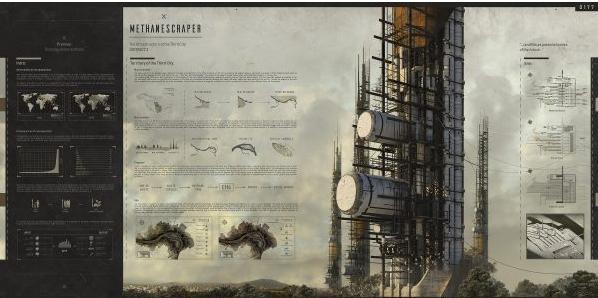 Progetto METHANESCRAPER di Marko Dragicevic vincitore dell'eVolo Skyscraper Competition 2019