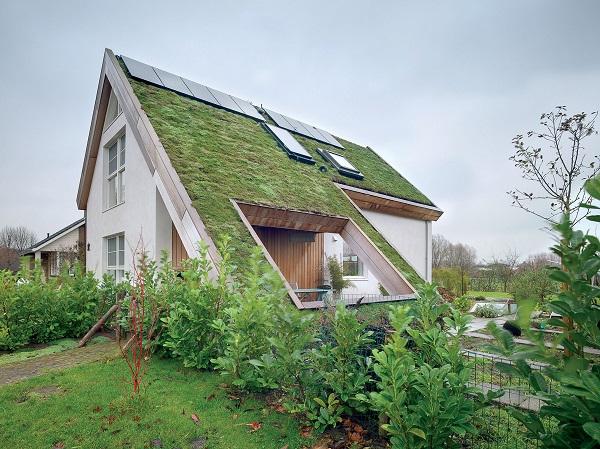 Finestra FAKRO installata su tetto verde