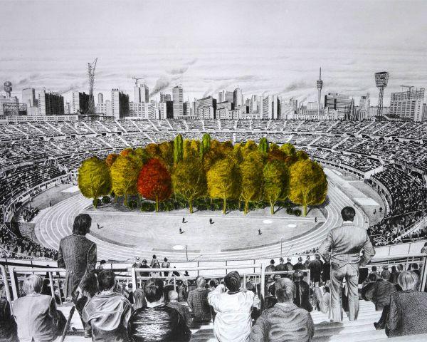 300 alberi installati nello stadio di Klagenfurt in Austria