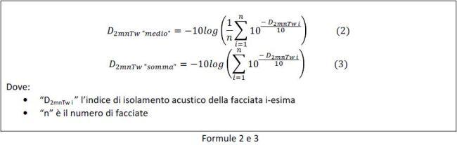 Formula per l'isolamento acustico di facciate ad angolo