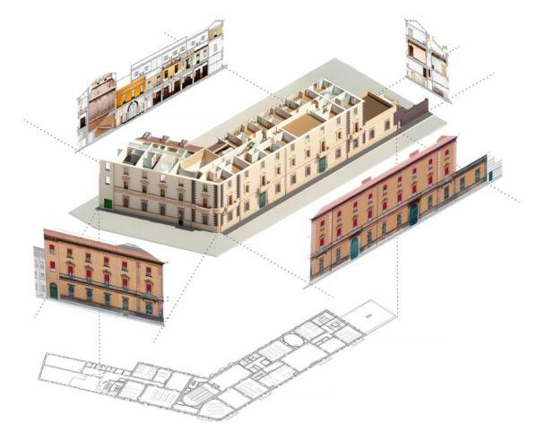 Spaccato tridimensionale di Palazzo Gulinelli a Ferrara con l'esportazione di piante, prospetti e sezioni