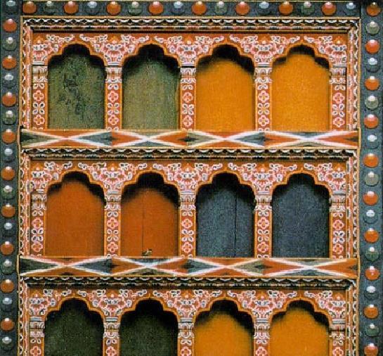 Finestre di uno convento Bhutanese