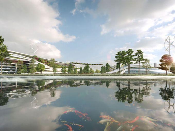 Specchi d'acqua nel progetto The garden city of the crescent moon