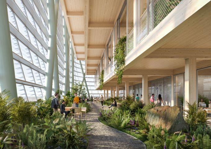 I giardini interni della torre in legno più alta del mondo progettata a Sydney