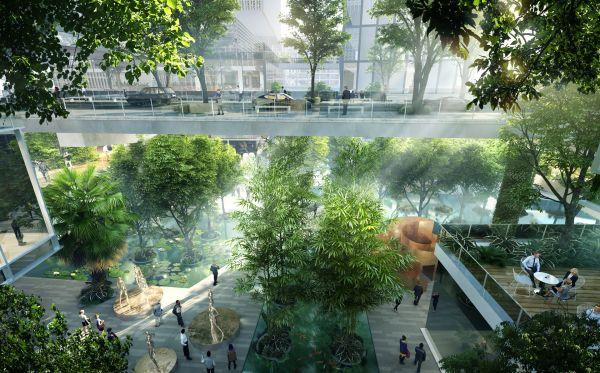 I giardini pensili caratterizzano il grattacielo tridimensionale Vanke Headquarter Tower