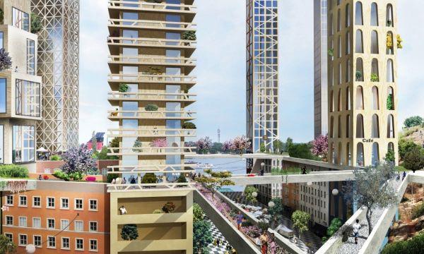 Rendering del nuovo quartiere di Stoccolma con 31 grattacieli in legno
