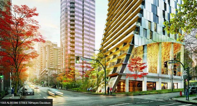 Alberni: il grattacielo di Vancouver scolpito con balconi profondi e ponti in legno