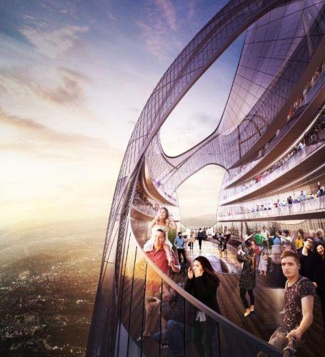 Vista mozzafiato dalla cima del Centro Internazionale di Shenzhen in Cina